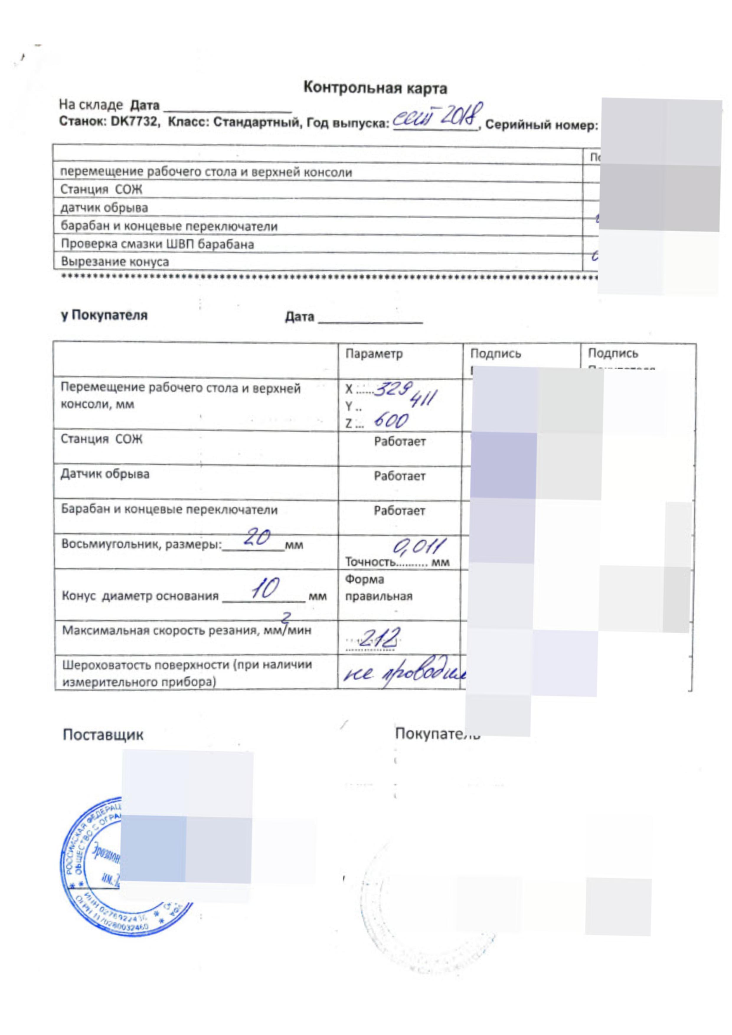 Отчет по итогам ПНР, станок DK 7732, Москва февраль 2019г.