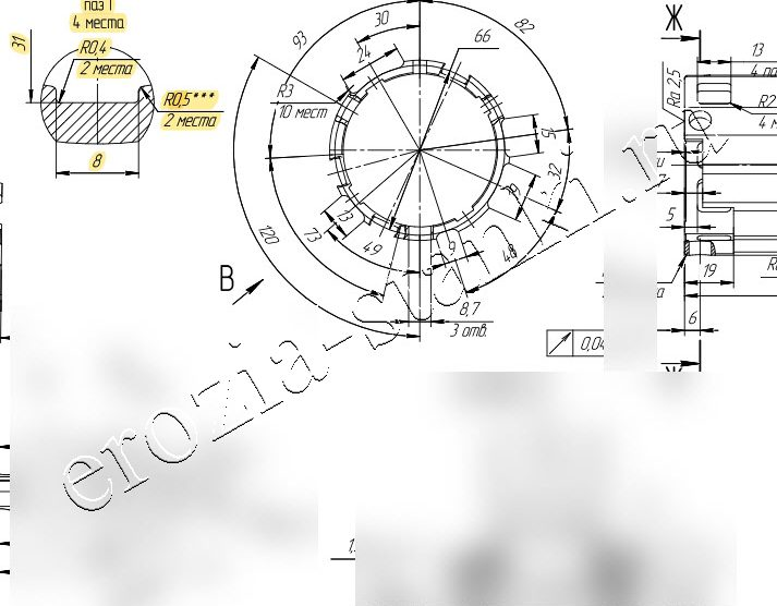 Пазы длиной 450mm. Сталь R550 API 7-1 Schoeller-Bleckmann